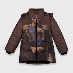 Детская зимняя куртка для девочки с принтом Александр III Миротворец, цвет: 3D-черный, артикул: 10116754406065 — фото 1