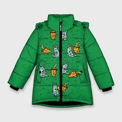 Детская зимняя куртка для девочки с принтом Боевая морковь, цвет: 3D-черный, артикул: 10117527206065 — фото 1