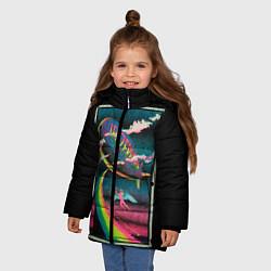 Куртка зимняя для девочки Led Zeppelin: Colour Fly цвета 3D-черный — фото 2