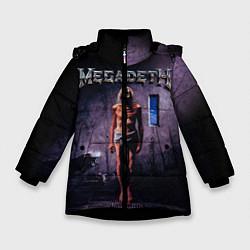 Детская зимняя куртка для девочки с принтом Megadeth: Madness, цвет: 3D-черный, артикул: 10118377406065 — фото 1