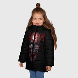 Детская зимняя куртка для девочки с принтом Slayer: Wild Skull, цвет: 3D-черный, артикул: 10119943706065 — фото 2