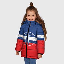 Куртка зимняя для девочки Флаг космический войск РФ цвета 3D-черный — фото 2