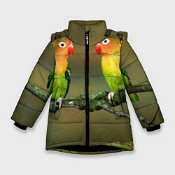 Куртка зимняя для девочки Два попугая цвета 3D-черный — фото 1