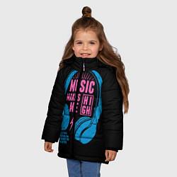 Куртка зимняя для девочки Музыка делает меня лучше цвета 3D-черный — фото 2