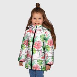 Куртка зимняя для девочки Фламинго в тропиках цвета 3D-черный — фото 2