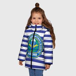 Детская зимняя куртка для девочки с принтом ВДВ Россия, цвет: 3D-черный, артикул: 10132434506065 — фото 2