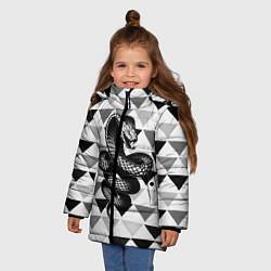 Куртка зимняя для девочки Snake Geometric цвета 3D-черный — фото 2