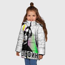 Куртка зимняя для девочки Дельфин: Синтетика цвета 3D-черный — фото 2