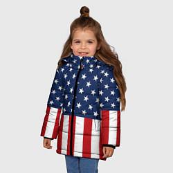 Куртка зимняя для девочки Флаг США цвета 3D-черный — фото 2