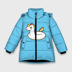 Куртка зимняя для девочки Единорог цвета 3D-черный — фото 1