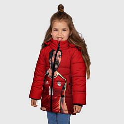 Куртка зимняя для девочки Мохамед Салах цвета 3D-черный — фото 2