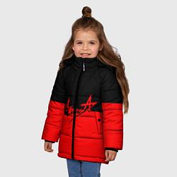 Куртка зимняя для девочки АлисА: Черный & Красный цвета 3D-черный — фото 2