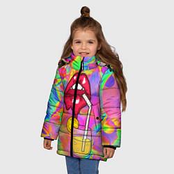 Куртка зимняя для девочки Cocktail lips цвета 3D-черный — фото 2