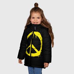 Куртка зимняя для девочки Peace цвета 3D-черный — фото 2