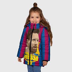 Детская зимняя куртка для девочки с принтом FCB Lionel Messi, цвет: 3D-черный, артикул: 10139223506065 — фото 2