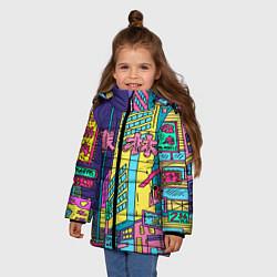 Куртка зимняя для девочки Токио сити цвета 3D-черный — фото 2