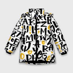 Куртка зимняя для девочки Letters bombing цвета 3D-черный — фото 1