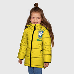Детская зимняя куртка для девочки с принтом Сборная Бразилии, цвет: 3D-черный, артикул: 10143141106065 — фото 2