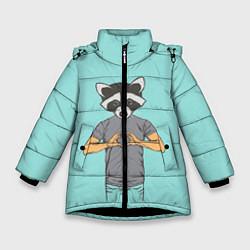 Куртка зимняя для девочки Влюбленный мистер енот цвета 3D-черный — фото 1