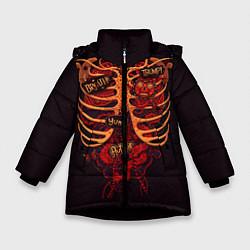 Куртка зимняя для девочки Человеческий скелет цвета 3D-черный — фото 1