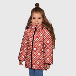 Куртка зимняя для девочки Обережная вышиванка: красно-белая цвета 3D-черный — фото 2