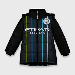 Детская зимняя куртка для девочки с принтом FC Manchester City: Away 18/19, цвет: 3D-черный, артикул: 10146281106065 — фото 1