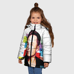 Куртка зимняя для девочки Илон Маск цвета 3D-черный — фото 2