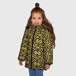 Куртка зимняя для девочки Духобор: Обережная вышивка цвета 3D-черный — фото 2
