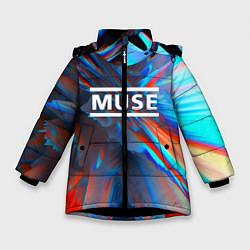 Куртка зимняя для девочки Muse: Colour Abstract - фото 1