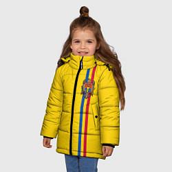 Куртка зимняя для девочки Молдавия: лента с гербом цвета 3D-черный — фото 2