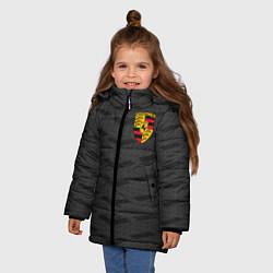 Куртка зимняя для девочки Porsche: Grey Sport цвета 3D-черный — фото 2