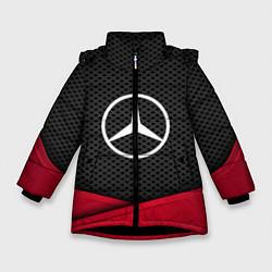Куртка зимняя для девочки Mercedes Benz: Grey Carbon цвета 3D-черный — фото 1