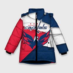 Детская зимняя куртка для девочки с принтом Washington Capitals, цвет: 3D-черный, артикул: 10152813106065 — фото 1