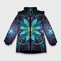 Куртка зимняя для девочки Астральная мандала цвета 3D-черный — фото 1