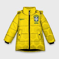 Детская зимняя куртка для девочки с принтом Brazil Team: WC 2018, цвет: 3D-черный, артикул: 10154615706065 — фото 1