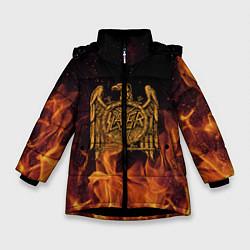 Детская зимняя куртка для девочки с принтом Slayer: Fire Eagle, цвет: 3D-черный, артикул: 10155330106065 — фото 1