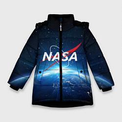 Куртка зимняя для девочки NASA: Sunrise Earth цвета 3D-черный — фото 1