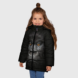 Детская зимняя куртка для девочки с принтом Морда Гориллы, цвет: 3D-черный, артикул: 10161070506065 — фото 2