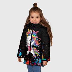 Куртка зимняя для девочки Малыш-единорог цвета 3D-черный — фото 2