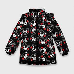 Детская зимняя куртка для девочки с принтом Kumamon Faces, цвет: 3D-черный, артикул: 10162796706065 — фото 1