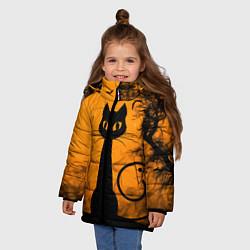 Куртка зимняя для девочки Halloween Cat цвета 3D-черный — фото 2