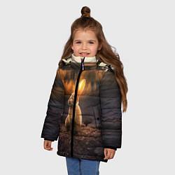 Детская зимняя куртка для девочки с принтом Солнечный зайчик, цвет: 3D-черный, артикул: 10164198706065 — фото 2