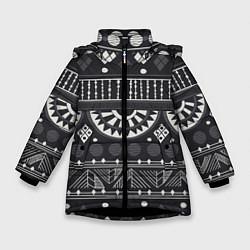 Куртка зимняя для девочки Этнический узор цвета 3D-черный — фото 1