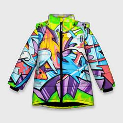 Куртка зимняя для девочки Неоновая кислота цвета 3D-черный — фото 1