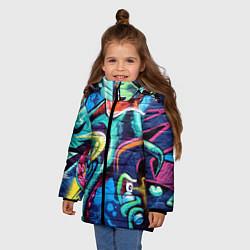 Куртка зимняя для девочки Street Fashion цвета 3D-черный — фото 2