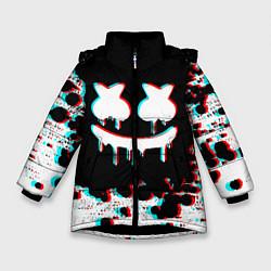 Куртка зимняя для девочки MARSHMELLO GLITCH цвета 3D-черный — фото 1