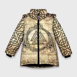 Куртка зимняя для девочки Валькнут символ павших в битве цвета 3D-черный — фото 1
