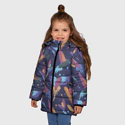 Куртка зимняя для девочки Райские попугаи цвета 3D-черный — фото 2