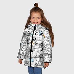 Куртка зимняя для девочки МЕМЫ цвета 3D-черный — фото 2