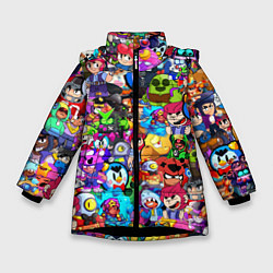 Куртка зимняя для девочки BRAWL STATS ВСЕ ПЕРСОНАЖИ цвета 3D-черный — фото 1